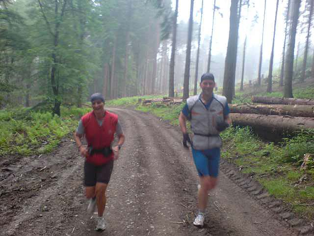 Anja und Lutz beim Dauerlauf im Wald