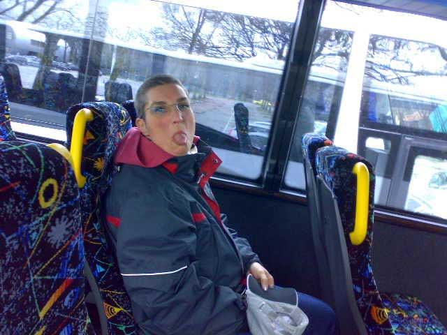 Anja im Bus